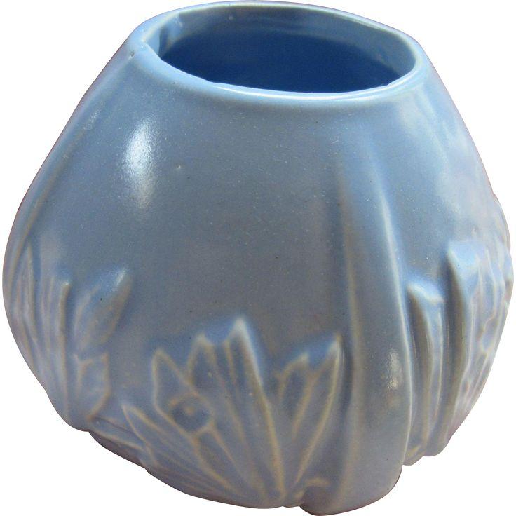 Vintage 1940s McCoy blue butterfly pottery vase - bowl, planter. Vintage American pottery @rubylanecom #vintagebeginshere