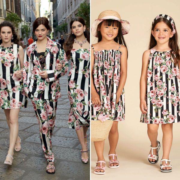 1883dd272779 DOLCE & GABBANA Girls Mini Me Love Christmas Theme Rose Black Stripe Dress  Spring Summer 2018
