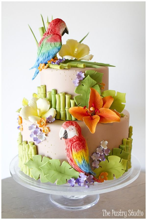 Tropical flowers and parrots shower cake