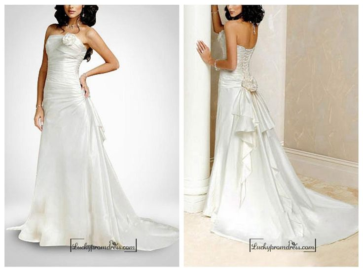 Beautiful Taffeta A-line Sleeveless Wedding Dress In Great Handwork