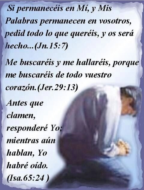 Juan 15:7, Jeremias 29:13, Isaias 65:24