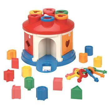 "Shape Sorter House is on sale! 12 different shapes and a set of keys to release them from the 9"" x 7.5"" sorting chamber. 2 Years +"