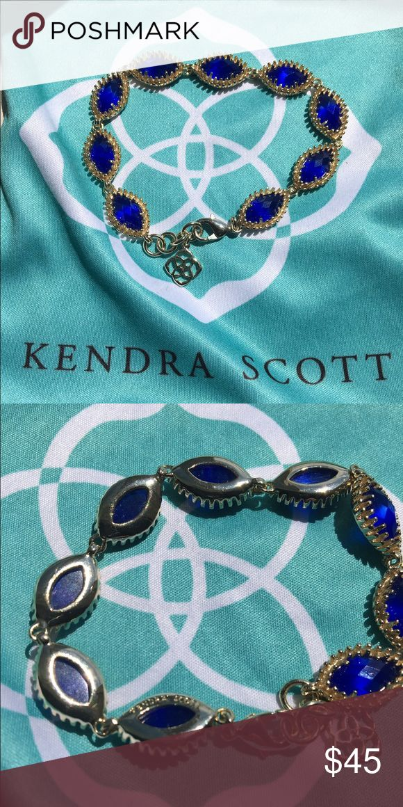 Kendra Scott Jana bracelet One lovely gold Kendra Scott bracelet with cobalt cat's eye gems! This bracelet would look great on its own or perfect as a layering piece with bangles. It will come with the original Kendra Scott cloth bag. Let me know if you're interested! Kendra Scott Jewelry Bracelets
