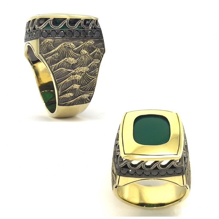 Handcrafted and hand-engraved men's ring in white an dyellow gold with jade and black diamonds from Sirkel Jewellery Design