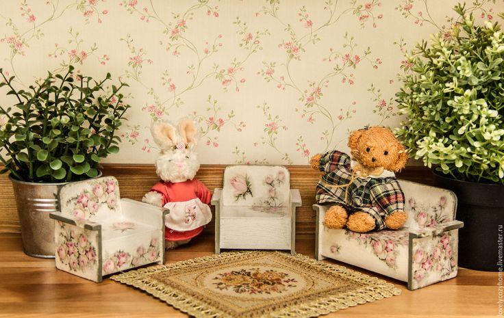 """Купить Мебель для кукол. Диванчик и кресла """" Розовые облака"""" - белый, Мебель, кукольный дом"""