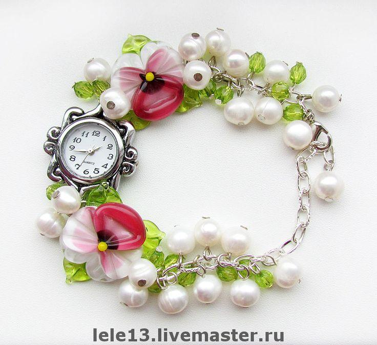 """Купить Часы """"Нежность"""" - часы, часики, женские часы, анютины глазки, розовые часы"""