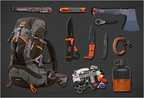 Bear Grylls Mountain Pack - but do you really need three knives AND a hatchet? Just sayin'.
