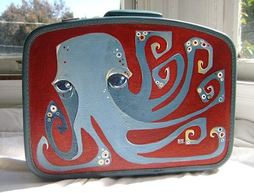 Octopus painted suitcase. Michelle White.