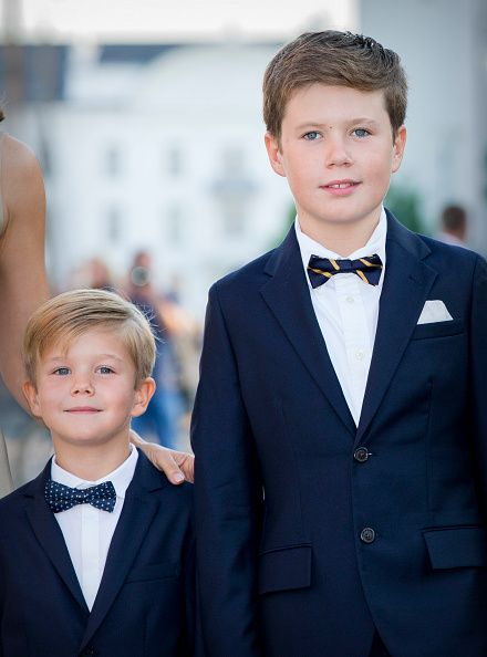 (L-R) Prince Vincent of Denmark and his older brother Prince Christan of Denmark attend the 18th birthday celebration of their cousin Prince Nikolai at royal ship Dannebrog on August 28, 2017 in Copenhagen, Denmark.