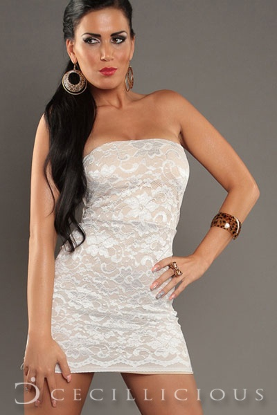 Pre-Order Chloe Lace White Boobtube Dress online with Cecillicious for only $15.00. Delivery to Australia wide.
