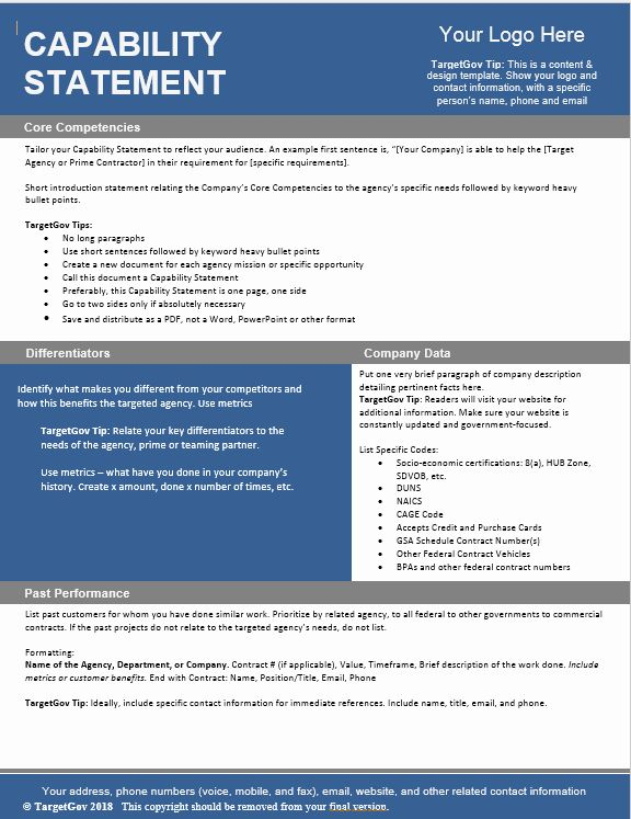 Capability Statement Template Free In 2020