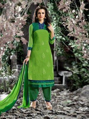Green Cotton Elegant Patiala Salwar Kameez  parisworld.in