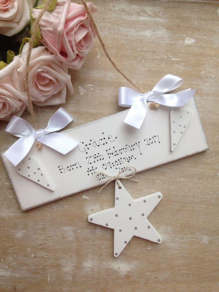 Personalised Newborn Baby Boy Girl Christening Nursery Door Sign Gift Keepsake