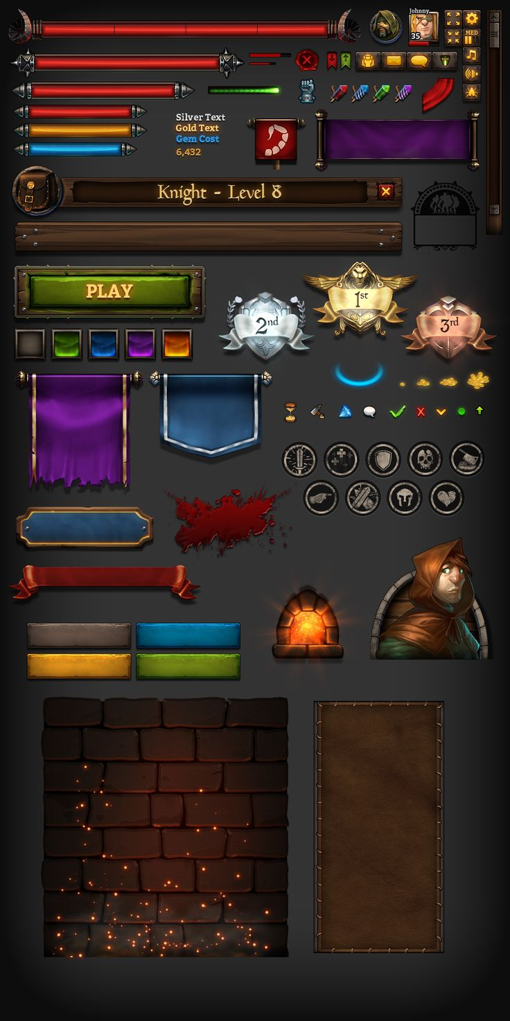 采集图片 Kingsroad UI Elements game user interface gui ui | NOT OUR ART - Please click artwork for source | WRITING INSPIRATION for Dungeons and Dragons DND Pathfinder PFRPG Warhammer 40k Star Wars Shadowrun Call of Cthulhu and other d20 roleplaying fantasy science fiction scifi horror location equipment monster character game design | Create your own RPG Books w/ www.rpgbard.com