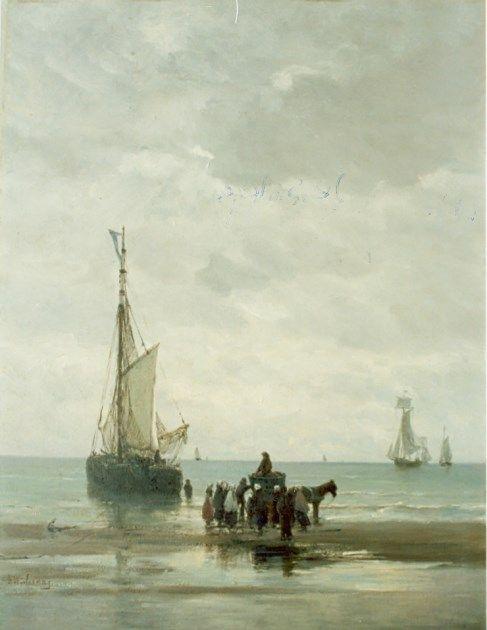 Hendrik Willem Mesdag (Groningen 1831-1915 Den Haag) Anchored boat - Dutch Art Gallery Simonis and Buunk Ede, Netherlands.
