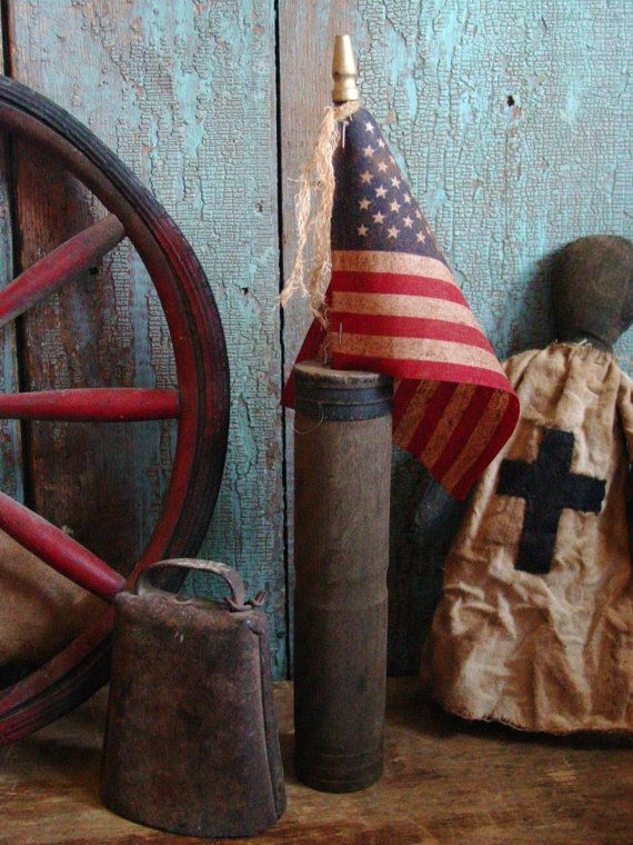 Primitive Americana Drab Dry Wooden Flag Holder by prairieantiques