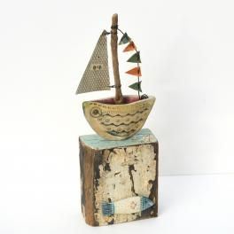 little boat sculpture - driftwood art
