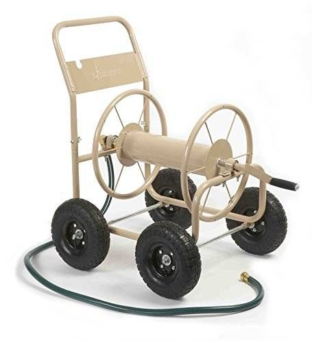 cool Liberty Garden Products 870-M1-2 Industrial 4-Wheel Garden Hose Reel Cart, Holds 300-Feet of 5/8-Inch Hose - Tan