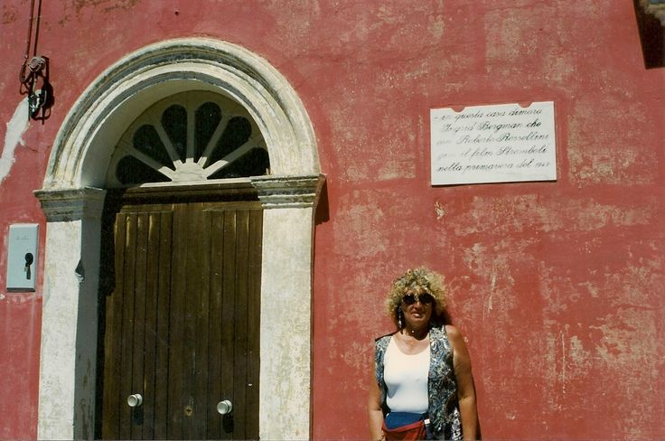 Sandy in front in the home that Ingrid Bergman stayed in while filming the movie Stromboli directed by Roberto Rosselini - they were natorious lovers at the time - she gave birth too twins before they married - Aeolian Islands - Italy