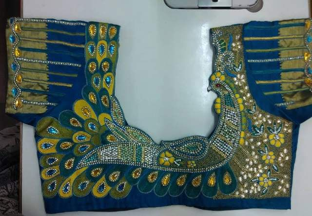 Peacock embroidery work blouse
