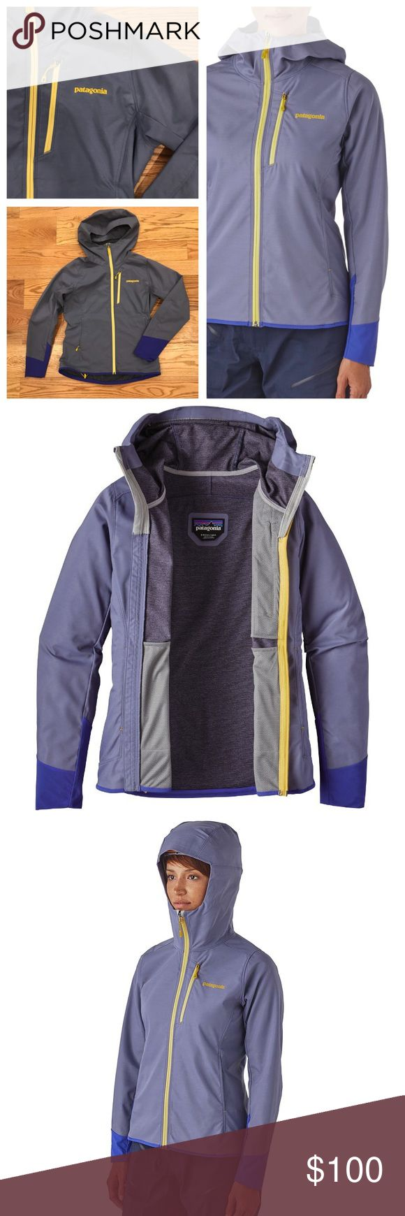 Patagonia Levitation Hoodie Patagonia Levitation Hoodie in Lupine. Size small. The Patagonia New Levitation Hoody soft shell should top your packing list, made with a tough-but-lightweight double weave stretch-woven fabric that breathes, resists wind and staves off precip with a DWR (durable water repellent) finish. laminated visor pulls easily on or off your helmet at belays, minimalist detailing includes our stretchy Variable Conditions Cuffs, which integrate cleanly with your climbing…
