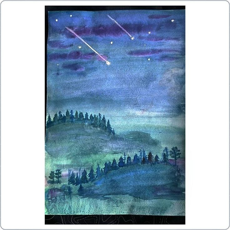 «#watercolorpainting #watercolor #landscape #night #акварель #рисовашки #рисунокакварелью #рисунок #ярисую #рисовашки»