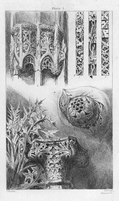 John Ruskin, The Seven Lamps of Architecture, 1855   Ornaments from Rouen, St. Lô, and Venice, p. 25    John Ruskin    R. P. Cuff, engraver    1855    6 7/8 x 4 5.32 inches    Plate I, The Seven Lamps of Architecture in Works, 8.16