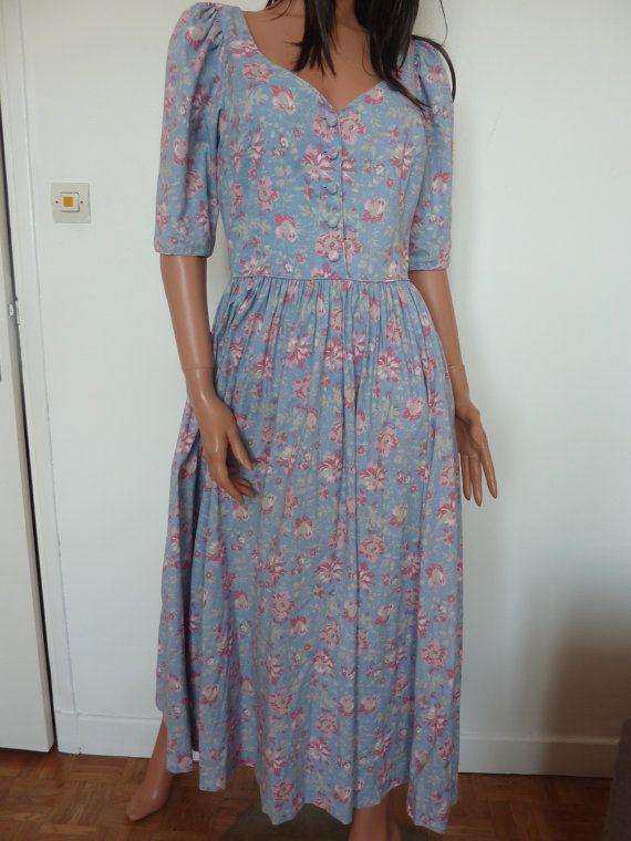 LAURA ASHLEY des années 80 bleu et vieux rose par RetroToWear