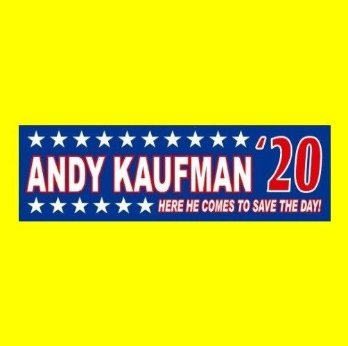 """""""ANDY KAUFMAN '20"""" mighty mouse comedy BUMPER STICKER Taxi Memphis Wrestling"""