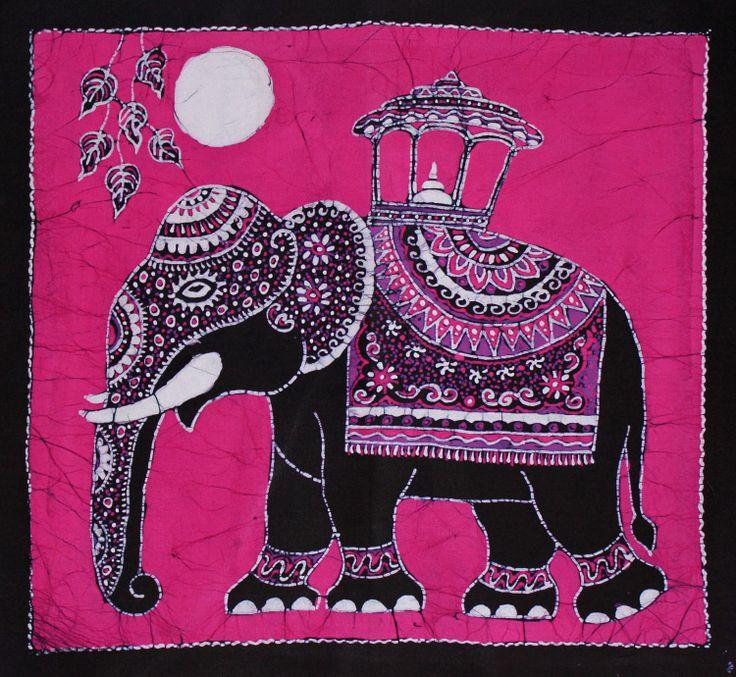 Batik+Wall+Hanging++Elephant+Tapestry+Batik+Art++by+eyeconcept,