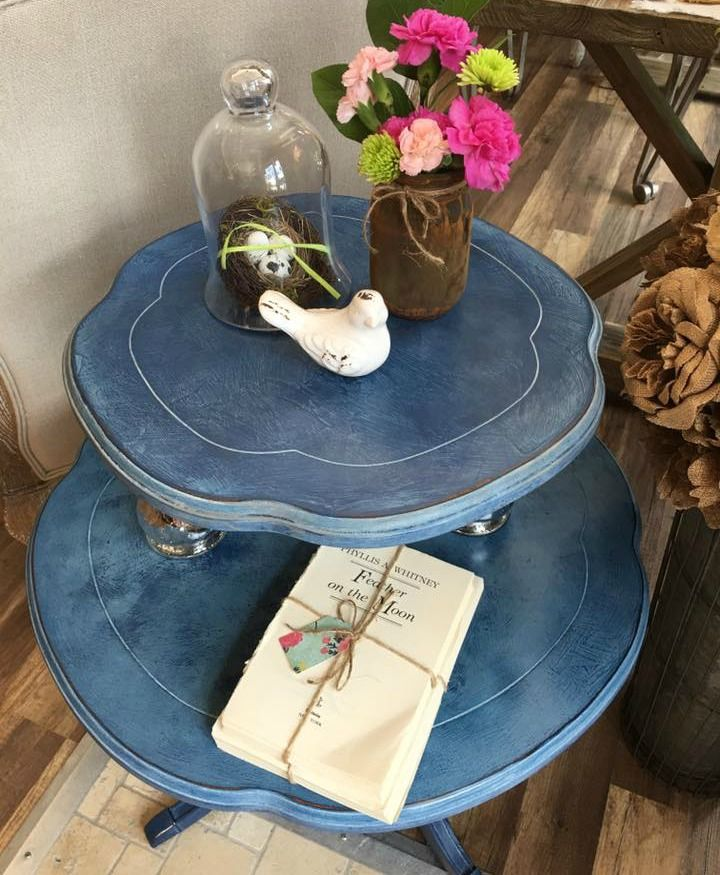 Beautiful table stand painted and textured with Napoleonic Blue Chalk Paint® with a wash of Old Violet and finished with White Chalk Paint Wax | Project by Annie Sloan Stockist Lynn H. White of Chalk it Up Norcross
