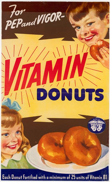 The Doughnut Corporation sought endorsement from the Nutrition Division of the War Food Administration for its 1942 Vitamin Doughnuts campaign.