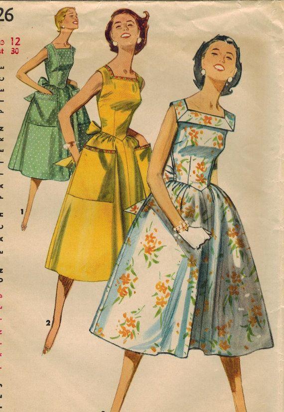 Sundress 1950s Simplicity 1626 Vintage Sewing Pattern by midvalecottage, etsy