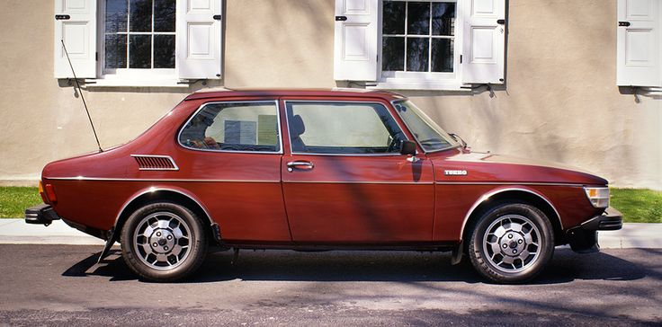 Saab 99 Turbo, 2 door. Would love one of these. There are a number of colours I like, this burgundy red is a lovely one. Also love the soccerball alloys.