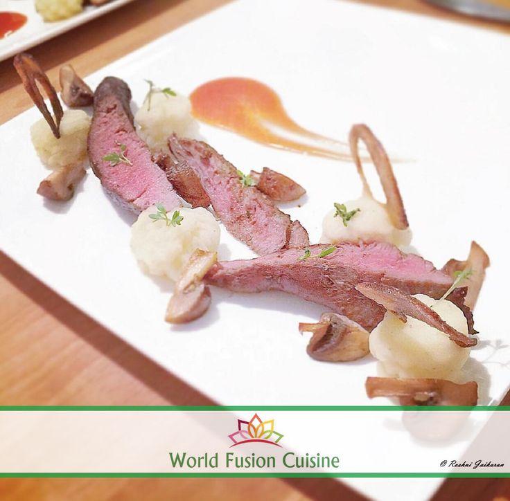 Lamb mashedpotato chestnutmushroom redwinesauce for Aura world fusion cuisine