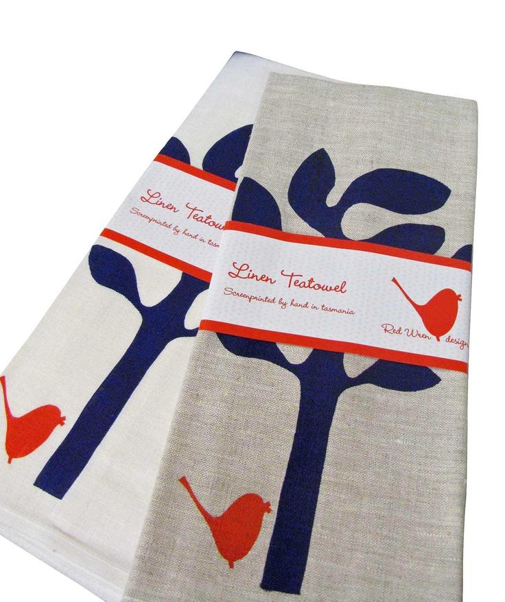 Seaweed Tree Linen Tea Towel by RedWrenDesigns on Etsy