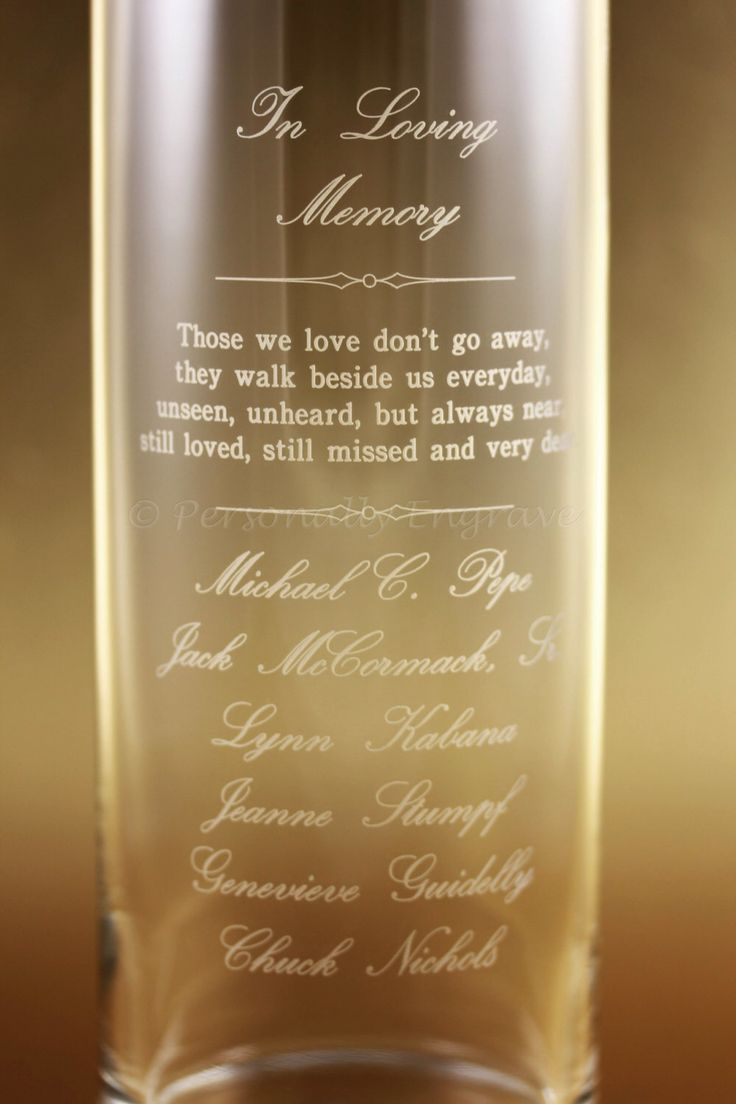 MEMORIAL CANDLE VASE - Floating Candle in a Custom Engraved Glass Vase - A personal touch, in memory of your loved ones. by PersonallyEngrave on Etsy https://www.etsy.com/listing/203854655/memorial-candle-vase-floating-candle-in