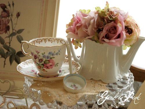 tea cup, teapot, flowers: English Tea, Tea Time A, Afternoon Tea, Terrific Teapots, Cups Teapots, Tea Cups, Teacups, Teatime China Roses, Flower