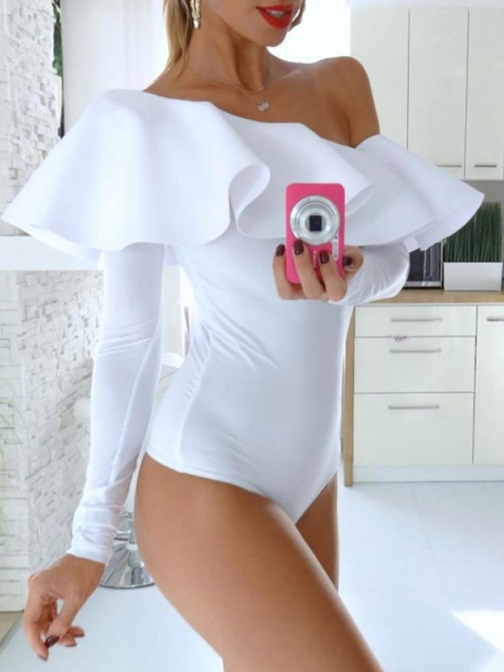 Shop Bodysuit Frilled One Shoulder Long Sleeve Bodysuit