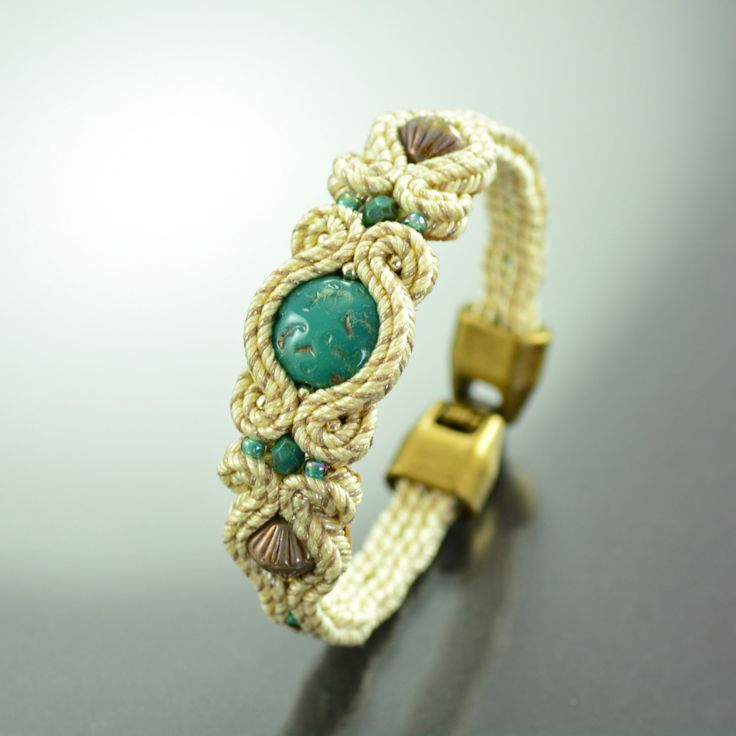 Beige Turquoise Soutache Bracelet - Small Unique Creamy Bracelet - Oriental Bracelet - Braccialetto Soutache - Turquoise Creamy Soutache by OzdobyZiemi on Etsy