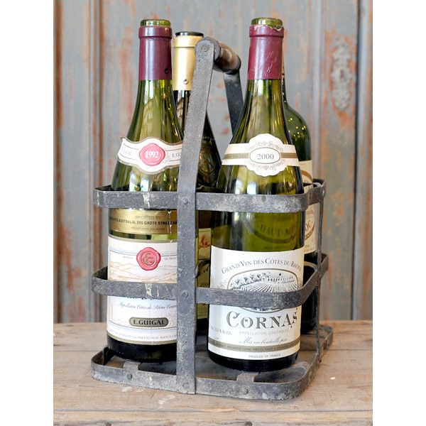 Vintage French 4-bottle carrier. Perfect for carrying wine bottles @ La Brocante