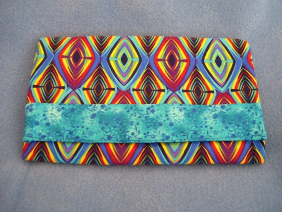 Trifold Fabric Clutch Wallet with Diamonds by SpiritPenny on Etsy, $33.00