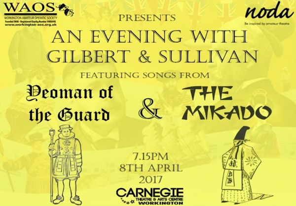 Gilbert and Sullivan return to the Workington stage http://www.cumbriacrack.com/wp-content/uploads/2017/03/Screen-Shot-2017-02-26-at-10.25.10.png For one night only, after 25 years, award winning Workington Amateur Operatic Society (WAOS) will host a celebration of Savoy Opera with a concert    http://www.cumbriacrack.com/2017/03/12/gilbert-sullivan-return-workington-stage/