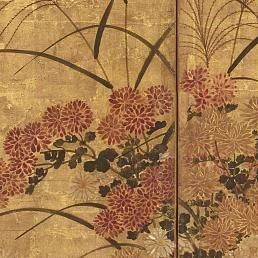 1896: Freer meets Japanese art dealer Matsuki Bunkyo (1867¬–1940) in Boston and begins to collect Japanese paintings. He purchases this six-panel folding screen from Bunkyo and loans Japanese prints to an exhibition at the Grolier Club in New York.  Summer and Autumn Flowers; Sōtatsu school; Japan, Edo period, 17th century; six-panel screen, color over gold on paper; Gift of Charles Lang Freer; F1896.82