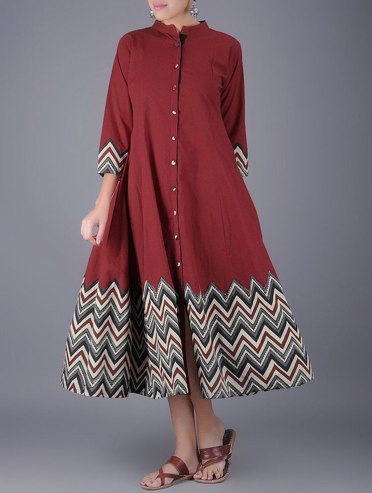 Buy Maroon Button Down Chevron Printed Natural Dyed Kalidar Cotton Dress Online at Jaypore.com