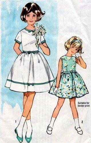 Simplicity 5468 Girls Size 7 Sleeveless One Piece Dress Sewing Pattern Vintage 1964 Wedding Flower