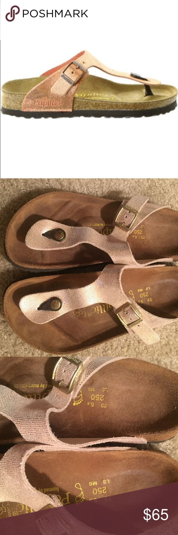 Birkenstock Papillio Gizeh size 39 Worn several times. Gold hardware. Metallic shine. See pics for normal wear Birkenstock Shoes Sandals