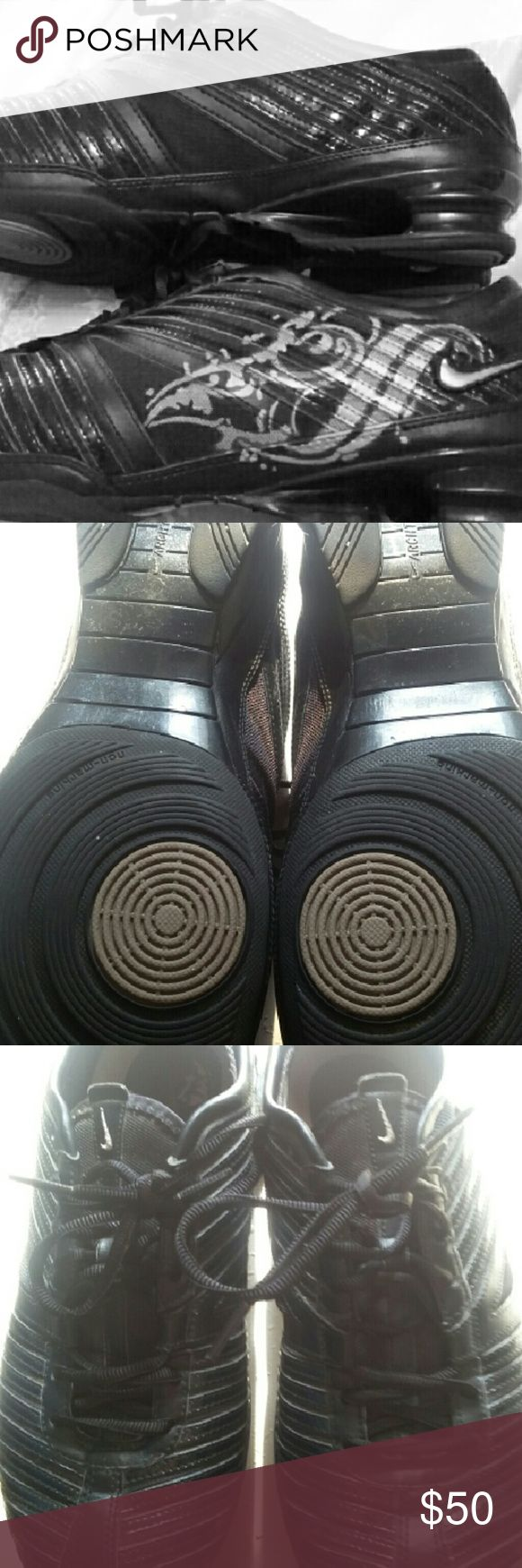 Black and Silver Nike Dress Shoes Great condition. Non-marking soles with Arch tech for great support. Nike Shoes Sneakers