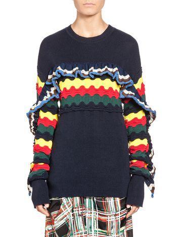 Хлопковый свитер с полосками и оборкой