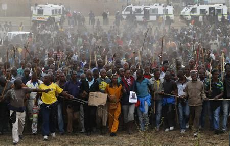 Marikana: A year on | Mineworkers take part in another march at Lonmin's Marikana mine in September 2012. Photo: REUTERS-Mike Hutchings